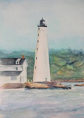Historic Lighthouses Painting - New London Harbor Lighthouse New London Ct by Patty Kay Hall