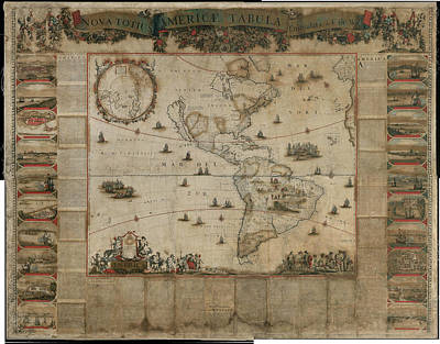 Corrected Painting - New Map Of All America  Corrected By F De Wit Amsterdam 1672 by MotionAge Designs