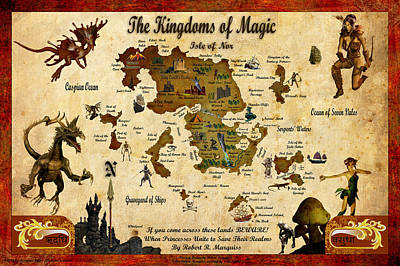 Digital Art - New Map Of The Kingdoms Of Magic by Robert Marquiss