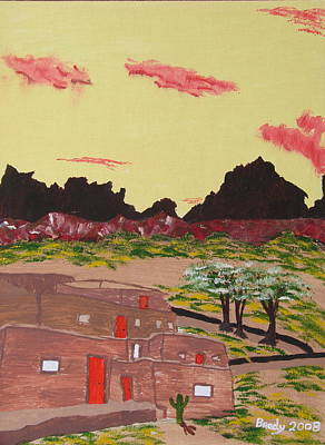 Painting - New Mexico Adobe Home by Brady Harness
