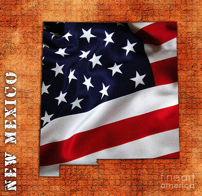 New Mexico American Flag State Map Art Print