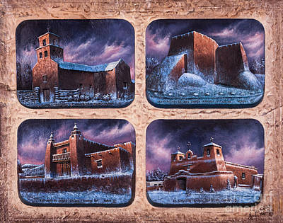 Cotton Mixed Media - New Mexico Churches In Snow by Ricardo Chavez-Mendez