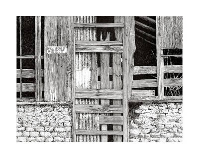Pen And Ink Of Barn Drawing - Will Build To Suit New Mexico Doors by Jack Pumphrey
