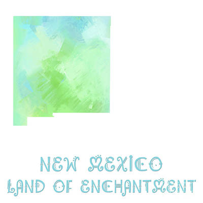 New Mexico - Land Of Enchantment - Map - State Phrase - Geology Art Print by Andee Design