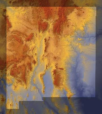 New Mexico Map Art Art Print by Paul Hein