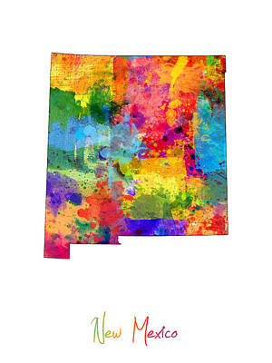 New Mexico Map Print by Michael Tompsett