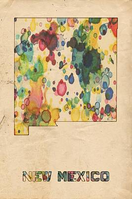 Maps Painting - New Mexico Map Vintage Watercolor by Florian Rodarte
