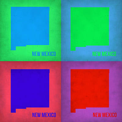 Modern Poster Painting - New Mexico Pop Art Map 1 by Naxart Studio