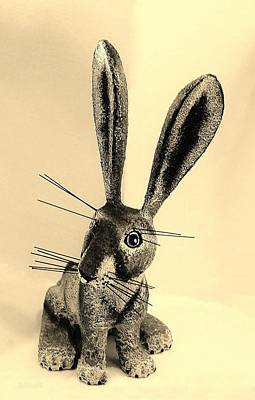 Photograph - New Mexico Rabbit Dark Sepia by Rob Hans
