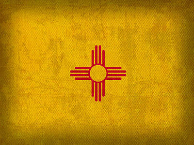 New Mexico State Flag Art On Worn Canvas Art Print by Design Turnpike