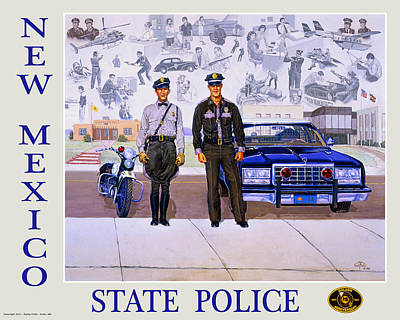 Route 66 Painting - New Mexico State Police Poster by Randy Follis