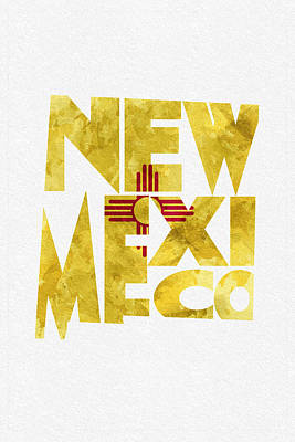 New Mexico Typographic Map Flag Print by Ayse Deniz