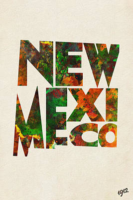 Abstract Map Mixed Media - New Mexico Typographic Watercolor Map by Ayse Deniz