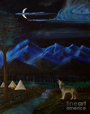 New Moon Howling Art Print by Stephen Schaps
