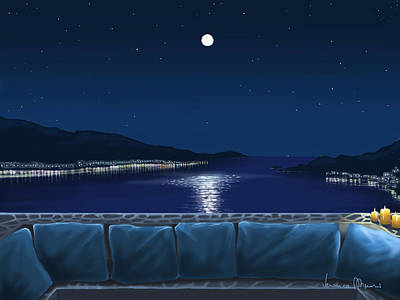 Seascape Digital Painting - New Moon by Veronica Minozzi