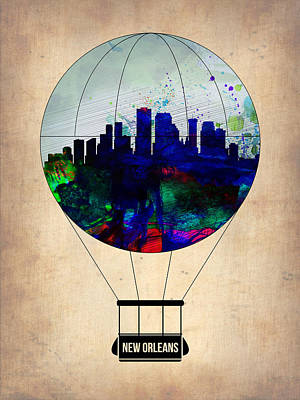 New Orleans Air Balloon Art Print by Naxart Studio