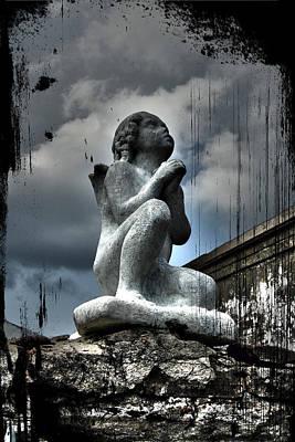 Creepy Digital Art - New Orleans Angel by Ryan Burton