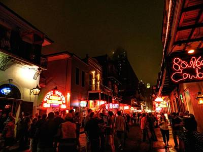 New Orleans - Bourbon Street 001 Print by Lance Vaughn