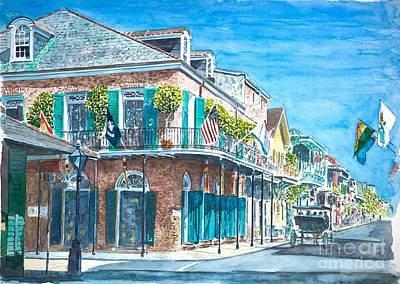 Flags Painting - New Orleans Bourbon Street by Anthony Butera