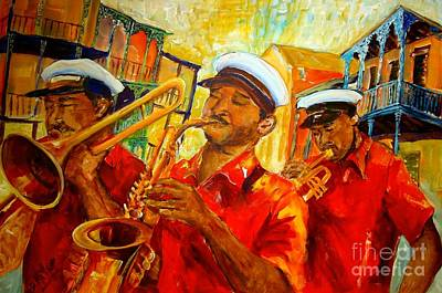 Trombone Painting - New Orleans Brass Band by Diane Millsap