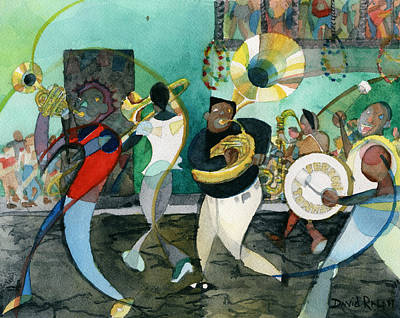 Painting - New Orleans Brass Band Jazz by David Ralph