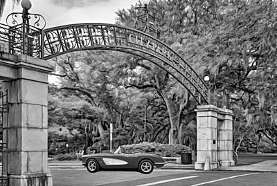 Classic Car Photograph - New Orleans - City Park Entrance Oil Bw by Steve Harrington