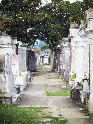 New Orleans French Quarter Cemetary Louisiana Artwork Art Print by Olde Time  Mercantile