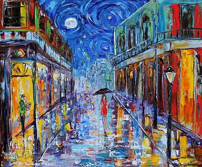 New Orleans Oil Painting - New Orleans French Quarter Moon by Karen Tarlton