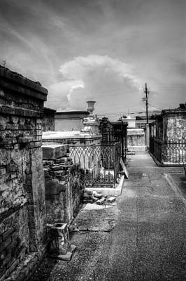 Photograph - New Orleans Graveyard In Black And White by Chrystal Mimbs