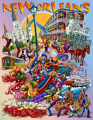 City Scene Drawing - New Orleans In Color by Maria Rabinky