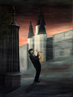 New Orleans Oil Painting - New Orleans Jazz Musician by Gino Didio