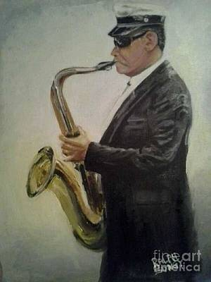 From New Orleans Painting - New Orleans Jazz Saxophone Player by Ralph Songy