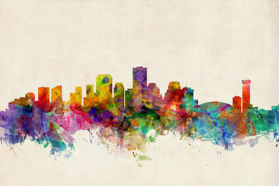 Poster Digital Art - New Orleans Louisiana Skyline by Michael Tompsett