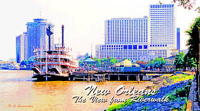 Tourist Attraction Digital Art - New Orleans Louisiana View From The Riverwalk by A Gurmankin