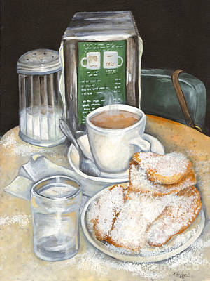 Coffee Painting - New Orleans Night Treat by Elaine Hodges