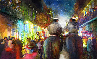 Quarters Mixed Media - New Orleans Nights 01 by Miki De Goodaboom