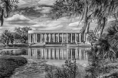 Bayou Photograph - New Orleans Peristyle - Paint Bw by Steve Harrington