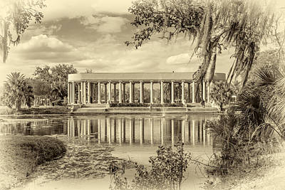 Metairie Photograph - New Orleans Peristyle Sepia by Steve Harrington