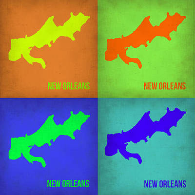 New Orleans Wall Art - Painting - New Orleans Pop Art Map 1 by Naxart Studio