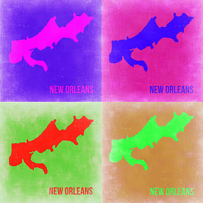 New Orleans Wall Art - Painting - New Orleans Pop Art Map 2 by Naxart Studio