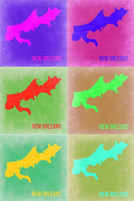 New Orleans Wall Art - Painting - New Orleans Pop Art Map 3 by Naxart Studio