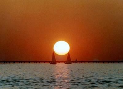 Print featuring the photograph New Orleans Sailing Sun On Lake Pontchartrain by Michael Hoard