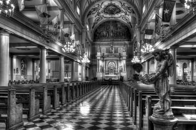 Photograph - New Orleans' Saint Louis Cathedral Interior In Black And White by Greg and Chrystal Mimbs