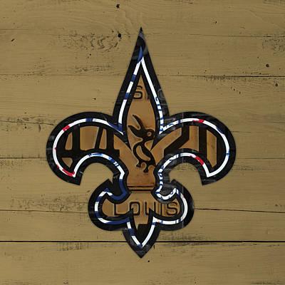 Louisiana Mixed Media - New Orleans Saints Football Team Retro Logo Louisiana License Plate Art by Design Turnpike