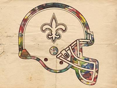 Painting - New Orleans Saints Helmet Art by Florian Rodarte