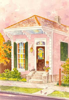 South Louisiana Painting - New Orleans Shotgun House In Pink by Joyce Hensley