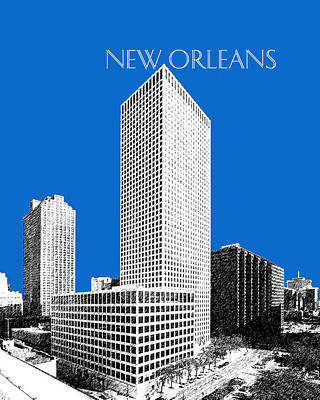 New Orleans Skyline - Blue Art Print by DB Artist