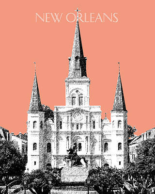 New Orleans Skyline Jackson Square - Salmon Art Print by DB Artist