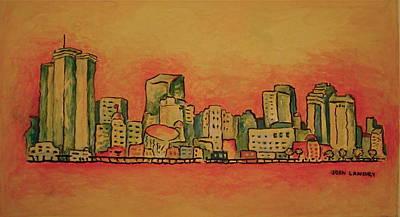 Mardi Gras Painting - New Orleans Skyline by Joan Landry