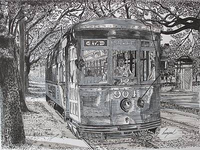 French Quarter. City Scene Drawing - New Orleans Street Car by Hung Quach